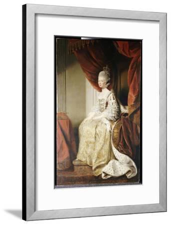 Portrait of Queen Charlotte, Full Length, Seated in Robes of State-Sir Joshua Reynolds-Framed Giclee Print