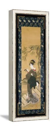 A Full Length Portrait of a Woman Tuning Her Shamisen on a Veranda-Toyokuni Utagawa-Framed Stretched Canvas Print