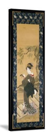 A Full Length Portrait of a Woman Tuning Her Shamisen on a Veranda-Toyokuni Utagawa-Stretched Canvas Print