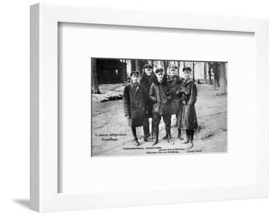 Baron Von Richthofen with Fellow Pilots, Including His Brother Lothar-German photographer-Framed Premium Giclee Print