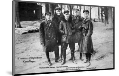 Baron Von Richthofen with Fellow Pilots, Including His Brother Lothar-German photographer-Mounted Premium Giclee Print