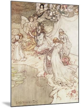 Illustration for a Fairy Tale, Fairy Queen Covering a Child with Blossom-Arthur Rackham-Mounted Giclee Print