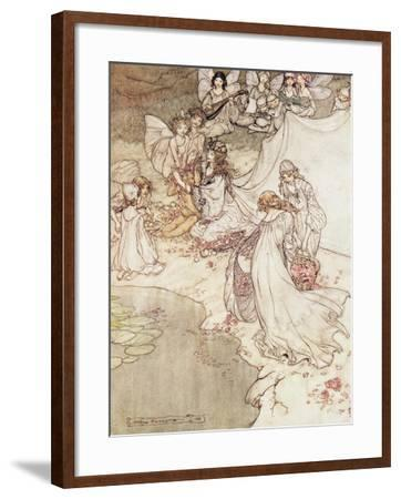 Illustration for a Fairy Tale, Fairy Queen Covering a Child with Blossom-Arthur Rackham-Framed Giclee Print