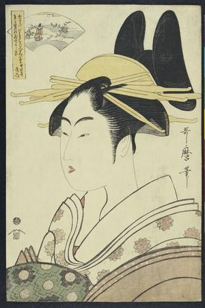 A Okubi-E Portrait of a Courtesan Representing the Hagi or Noki River-Kitagawa Utamaro-Stretched Canvas Print
