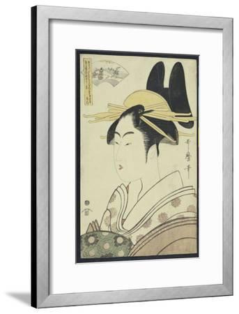 A Okubi-E Portrait of a Courtesan Representing the Hagi or Noki River-Kitagawa Utamaro-Framed Giclee Print