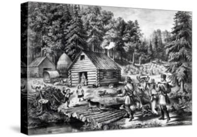 The Pioneer's Home on the Western Frontier, Pub. by Currier and Ives, 1867-American School-Stretched Canvas Print