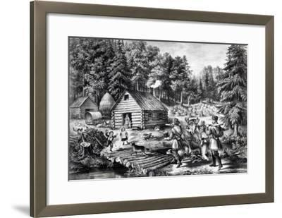 The Pioneer's Home on the Western Frontier, Pub. by Currier and Ives, 1867-American School-Framed Giclee Print