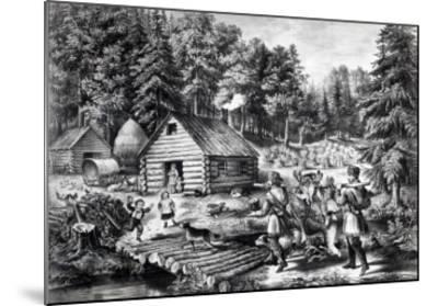 The Pioneer's Home on the Western Frontier, Pub. by Currier and Ives, 1867-American School-Mounted Giclee Print