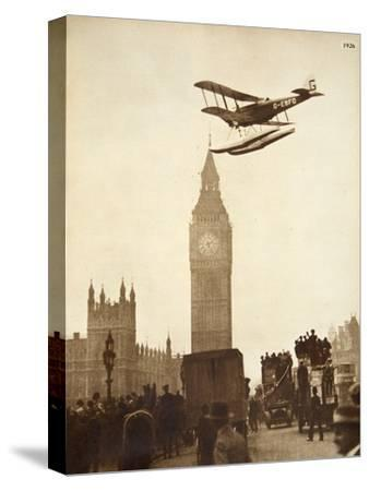 Alan Cobham Coming in to Land on the Thames at Westminster, London, 1926-English Photographer-Stretched Canvas Print