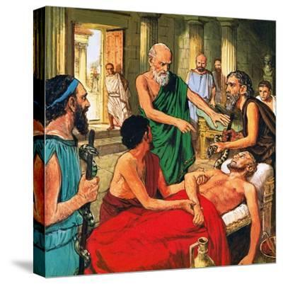 Hippocrates Discouraging the Use of Primitive Medical Techniques-Clive Uptton-Stretched Canvas Print