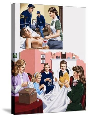 Louisa M. Alcott Becomea a Nurse During the American Civil War-John Keay-Stretched Canvas Print