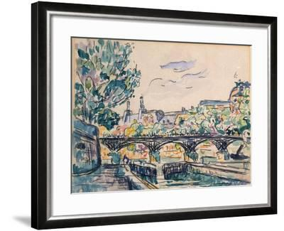 Bank of the Seine Near the Pont Des Arts, with a View of the Louvre-Paul Signac-Framed Giclee Print