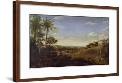 Brazilian Landscape with Sugar Mill, Armadillo and Snake, River Varzea- Post-Framed Giclee Print