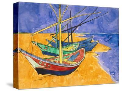 Fishing Boats on the Beach at Saintes-Maries-De-La-Mer-Vincent van Gogh-Stretched Canvas Print