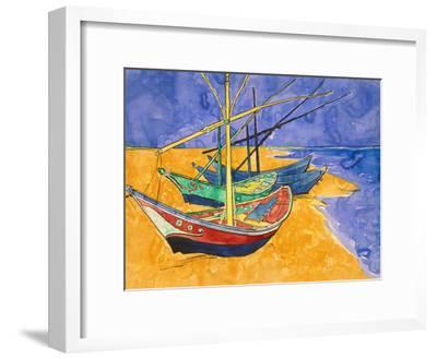 Fishing Boats on the Beach at Saintes-Maries-De-La-Mer-Vincent van Gogh-Framed Giclee Print