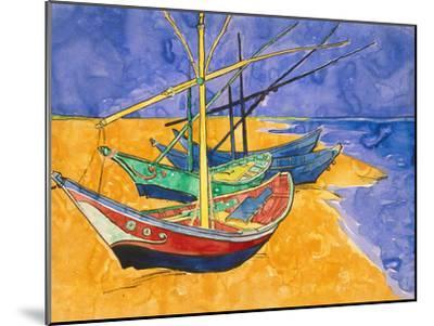 Fishing Boats on the Beach at Saintes-Maries-De-La-Mer-Vincent van Gogh-Mounted Giclee Print