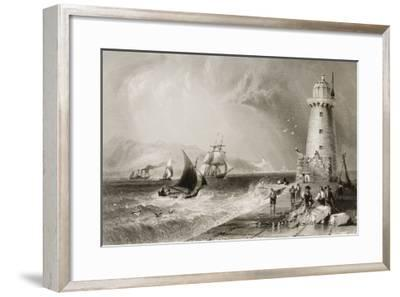 South Wall Lighthouse with Howth Hill in the Distance, Dublin-William Henry Bartlett-Framed Giclee Print