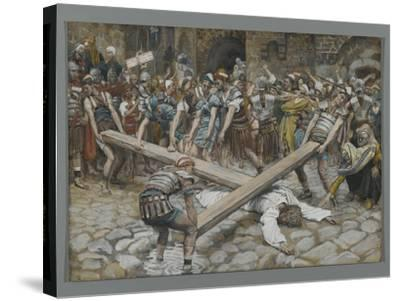 Simon the Cyrenian Compelled to Carry the Cross with Jesus-James Tissot-Stretched Canvas Print