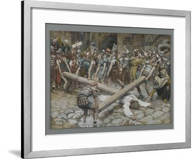 Simon the Cyrenian Compelled to Carry the Cross with Jesus-James Tissot-Framed Giclee Print