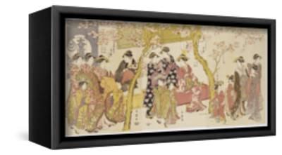 Three Groups of Courtesans with their Shinzo and Kamuro-Kitagawa Utamaro-Framed Stretched Canvas Print
