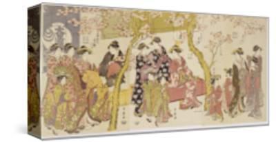 Three Groups of Courtesans with their Shinzo and Kamuro-Kitagawa Utamaro-Stretched Canvas Print