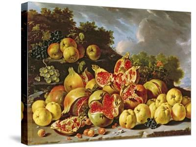 Still Life with Pomegranates, Apples, Cherries and Grapes- Melendez-Stretched Canvas Print