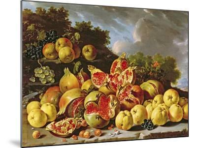 Still Life with Pomegranates, Apples, Cherries and Grapes- Melendez-Mounted Giclee Print