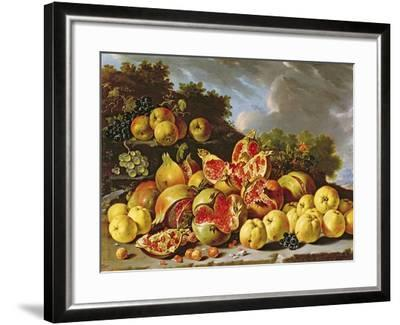 Still Life with Pomegranates, Apples, Cherries and Grapes- Melendez-Framed Giclee Print