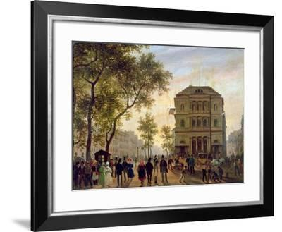Boulevard Saint-Martin and the Theatre De L'Ambigu, 1830-Guiseppe Canella-Framed Giclee Print