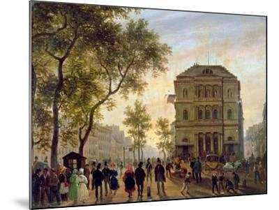 Boulevard Saint-Martin and the Theatre De L'Ambigu, 1830-Guiseppe Canella-Mounted Giclee Print