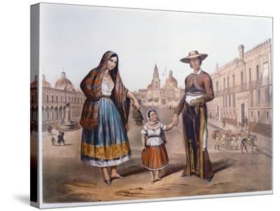Mexican Family in Plaza Santo Domingo, Mexico City, C.1840-German School-Stretched Canvas Print