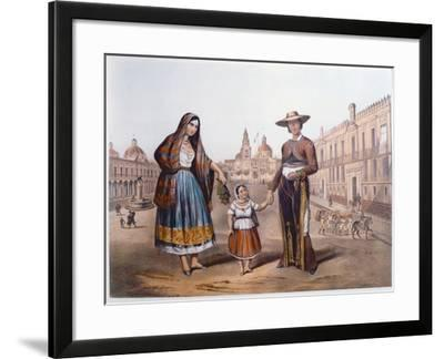 Mexican Family in Plaza Santo Domingo, Mexico City, C.1840-German School-Framed Giclee Print