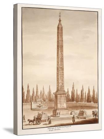 The Piazza Del Popolo Obelisk, from the Circus Maximus, 1833-Agostino Tofanelli-Stretched Canvas Print