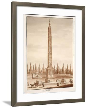 The Piazza Del Popolo Obelisk, from the Circus Maximus, 1833-Agostino Tofanelli-Framed Giclee Print