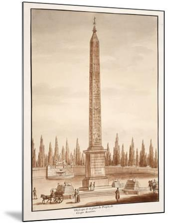 The Piazza Del Popolo Obelisk, from the Circus Maximus, 1833-Agostino Tofanelli-Mounted Giclee Print