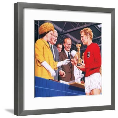 Bobby Moore Collecting the Football World Cup Trophy in 1966-John Keay-Framed Giclee Print