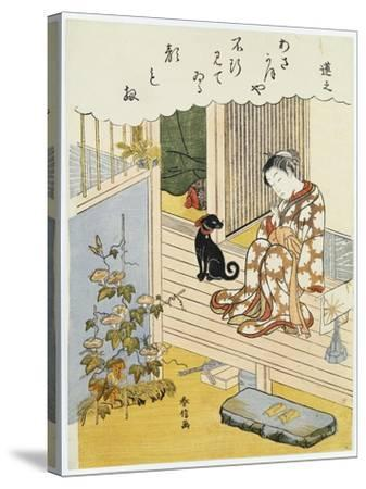 A Courtesan Seated on a Verandah Brushing Her Teeth-Suzuki Harunobu-Stretched Canvas Print