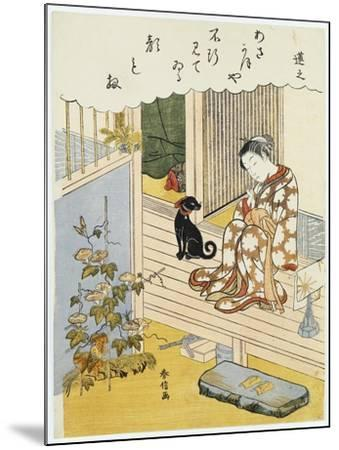 A Courtesan Seated on a Verandah Brushing Her Teeth-Suzuki Harunobu-Mounted Giclee Print