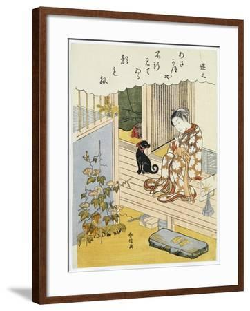 A Courtesan Seated on a Verandah Brushing Her Teeth-Suzuki Harunobu-Framed Giclee Print