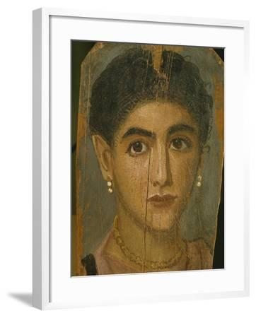 Female Mummy Portrait, from Thebes, 2nd Century-Roman Period Egyptian-Framed Giclee Print