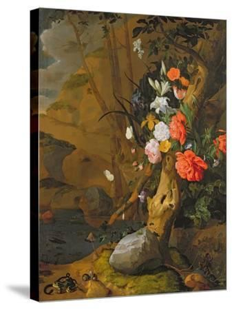 Peonies, Roses, Lilies, Poppies and Other Flowers-Rachel Ruysch-Stretched Canvas Print