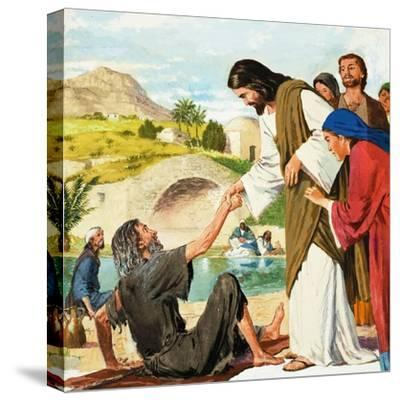 The Miracles of Jesus: Making the Lame Man Walk-Clive Uptton-Stretched Canvas Print