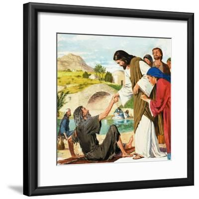 The Miracles of Jesus: Making the Lame Man Walk-Clive Uptton-Framed Giclee Print