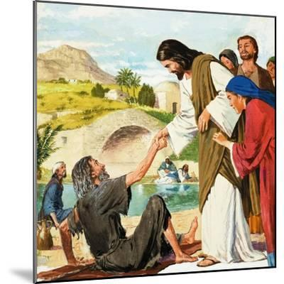 The Miracles of Jesus: Making the Lame Man Walk-Clive Uptton-Mounted Giclee Print