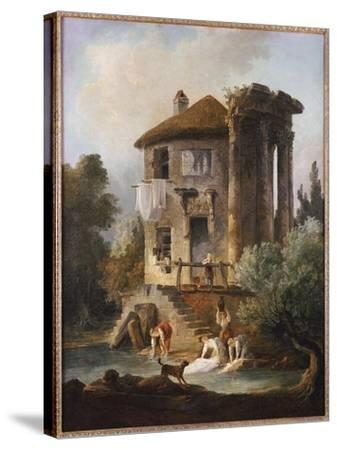 Washerwomen Outside the Temple of the Sibyl, Tivoli-Hubert Robert-Stretched Canvas Print