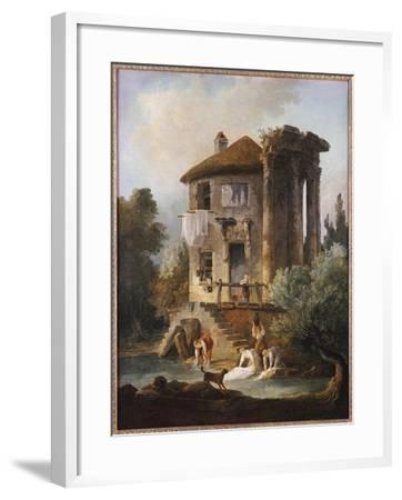 Washerwomen Outside the Temple of the Sibyl, Tivoli-Hubert Robert-Framed Giclee Print