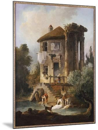 Washerwomen Outside the Temple of the Sibyl, Tivoli-Hubert Robert-Mounted Giclee Print