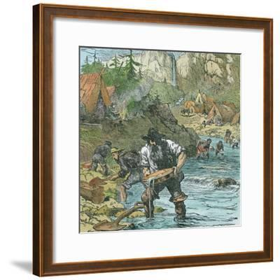 Gold Washing in California, from a Book Pub. 1896-American School-Framed Giclee Print
