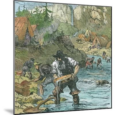 Gold Washing in California, from a Book Pub. 1896-American School-Mounted Giclee Print