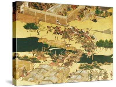 The Battle of Hogen from a Screen, Momayama Period-Japanese School-Stretched Canvas Print